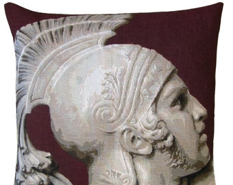 jacquard woven belgian tapestry pillow cushion Fall of Achilles