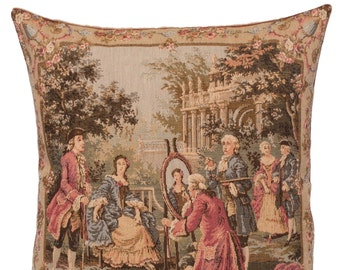 belgian gobelin tapestry cushion pillow cover elegant scenery portrait painter, artwork by François Boucher  - PC-18R