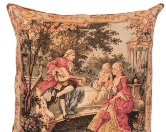 belgian gobelin tapestry cushion pillow cover elegant scenery mandolin player artwork by François Boucher  - PC-18L