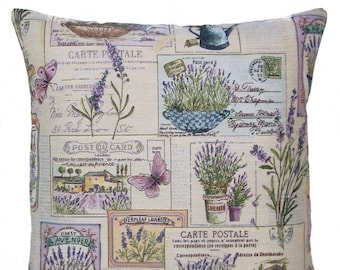 Lavender Pillow Cover - French Decor Throw Pillow - Provence Decor Pillow - 18x18 Belgian Tapestry Cushion Cover - PC-9001