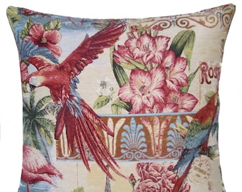 Tropical Decor Pillow Cover - Parrot Throw Pillow - Parrot Gift - 18x18 Belgian Tapestry Cushion - PC-9003