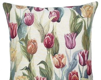 "jacquard woven tapestry cushion throw pillow cover tulips red pink yellow 17""x17"" - PC-9009"