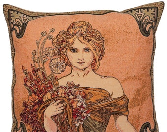 belgian gobelin tapestry cushion throw pillow cover Spring season by Alphonse Mucha - PC-15G
