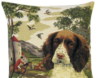 Springer Spaniel Pillow Cover - 18x18 Belgian Tapestry Cushion - Springer Spaniel Gift - Foxhunting Decor - PC-5515