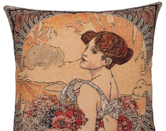 Summer Gift - Alphonse Mucha Pillow Cover - Mucha Gift - 18x18 Belgian Tapestry Cushion - Mucha Throw Pillow - PC-16G