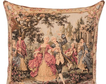 belgian gobelin tapestry cushion pillow cover elegant scenery dancing couple, artwork by François Boucher  - PC-18M