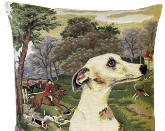 Whippet Pillow Cover - Belgian Tapestry Cushion Cover - Whippet Lover Gift - Forest Foxhunting Decor - PC-5517