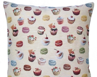 "jacquard woven tapestry cushion throw pillow cover fun cupcakes candy cherries 17""x17"" - PC-9008"