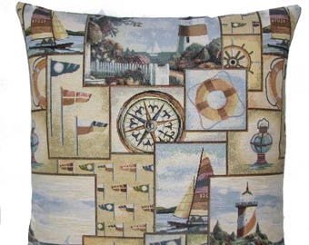 "jacquard woven tapestry cushion throw pillow cover nautical lighttower boats 17""x17"" - PC-9005"