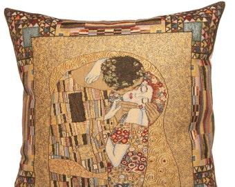 Klimt Pillow Cover - Gustav Klimt The Kiss Pillow - Gustav Klimt Gift - 18x18 belgian tapestry throw pillow - Klimt cushion cover