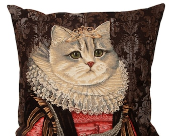 Belgian tapestry throw pillow cushion cover royal portrait white cat with red and black dress and lace collar