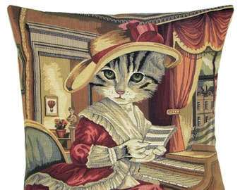 belgian gobelin tapestry cushion cover throw pillow dressed cat with hat playing the piano jacquard woven