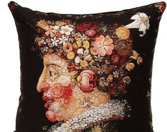 Giuseppe Arcimboldo Spring Pillow Cover - 18x18 Belgian Tapestry Cushion Cover - Italian Art Gift - Museum Gift - PC-1842