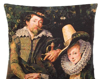 belgian tapestry cushion throw pillow cover portrait of Peter Paul Rubens and Isabella jacquard woven gobelin