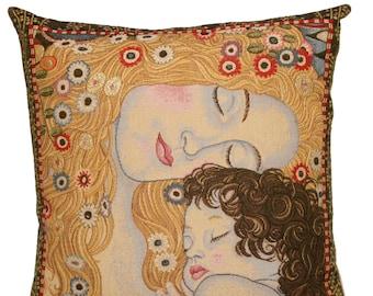 jacquard woven belgian gobelin tapestry cushion pillow cover Les 3 Ages by Gustav Klimt