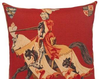 jacquard woven belgian gobelin tapestry cushion pillow cover Jousting  - PC-1312/R