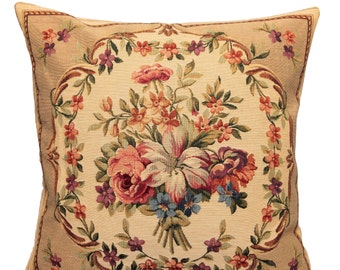 Shabby Chic Pillow Cover - French Decor Pillow - French Decor Gift - Flower Bouquet Throw Pillow - Belgian Tapestry Pillowcase - PC-1804/11