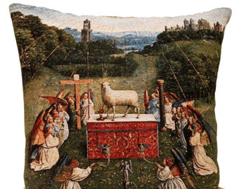 jacquard woven belgian gobelin tapestry cushion pillow cover The Adoration of The Mystic Lamb by Jan Van Eyck