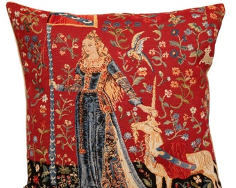 Unicorn Pillow Cover Lady and the Unicorn belgian tapestry cushion cover The Touch throw pillow - PC-1600