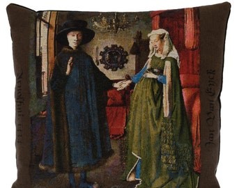 Arnolfini Portrait Pillow Cover - Jan Van Eyck Pillow - Van Eyck gift - Van Eyck Painting - 18x18 Belgian Tapestry Pillow - Museum Gift