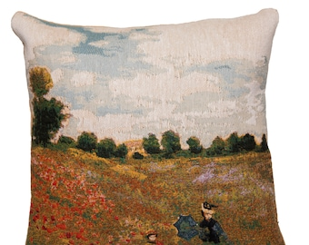 jacquard woven belgian gobelin tapestry cushion pillow cover Poppies by Claude Monet