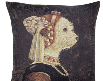 Maltese Dog Pillow - Maltese Dog Gift - Dressed Maltese Dog - 18x18 Belgian Tapestry Pillow - Dog Portrait - Dog Art Gift - PC-5616