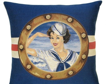 belgian tapestry gobelin throw pillow beach cushion cover brunette pinup girl blue red nautical - PC-5627