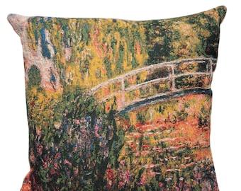 Monet Pillow Cover - Monet Reproduction - Japanese Bridge - Monet Gift - Monet Decor - 18x18 Belgian Tapestry Pillow Cover