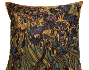jacquard woven belgian gobelin tapestry cushion throw pillow cover Irises by Vincent Van Gogh