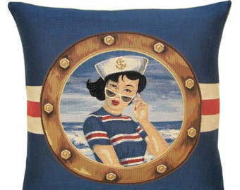 black haired pinup girl tapestry gobelin throw pillow beach cushion cover blue red nautical - PC-5626