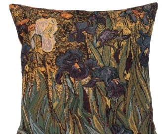 Irises pillow cover - Van Gogh Decor - Van Gogh Gift - Van Gogh Painting - 18x18 Belgian Tapestry Pillow