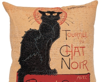 Le Chat Noir Pillow Cover - Le Chat Noir Art Reproduction - Le Chat Noir Gift - Fine Arts Gift - PC-1431