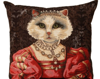 Belgian tapestry throw pillow cushion cover royal portrait white cat with red dress and crown