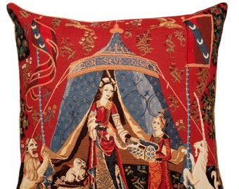 gobelin tapestry cushion throw pillow cover To My Sole Desire The Lady and the Unicorn jacquard woven in Belgium - PC-989