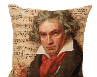 Beethoven Gift - Beethoven Art Pillow Cover - Beethoven Portrait - Belgian Tapestry Cusjion Cover - Musical Gift - Beethoven Decor