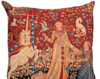 jacquard woven belgian gobelin tapestry cushion pillow cover The Taste - Lady and the Unicorn