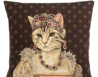 "belgian tapestry throw pillow gobelin cushion cover royal cat portrait Josephine Charlotte 18""x18"" - PC-3053"