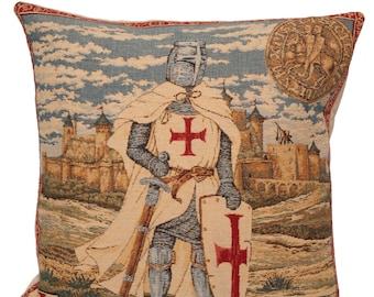 Templar Pillow Cover - 18x18 Belgian Tapestry Cushion Cover - Templer Knight Gobelin Pillow Cover - PC-1284