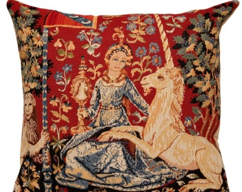 jacquard woven belgian gobelin tapestry cushion pillow cover The Sight - Lady and the Unicorn