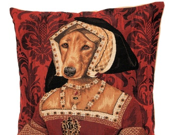jacquard woven belgian gobelin tapestry cushion pillow cover Claude de France