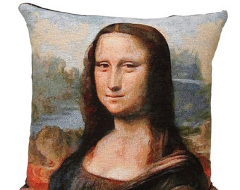 Mona Lisa Pillow Cover - Gioconda Pillow Cover - Mona Lisa Gift - 18x18 Belgian Tapestry Pillow - Michelangelo Gift
