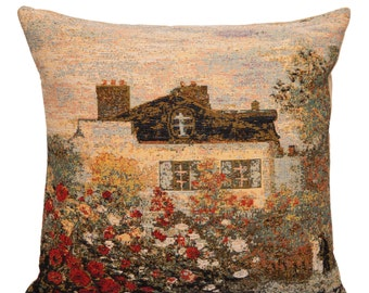 House of Monet Pillow Cover - Museum Reproduction Gift - French Art - 18x18 Belgian Tapestry Pillow