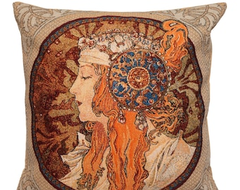 belgian gobelin tapestry cushion pillow cover Rousse Byzantine by Alphonse Mucha - PC-6007