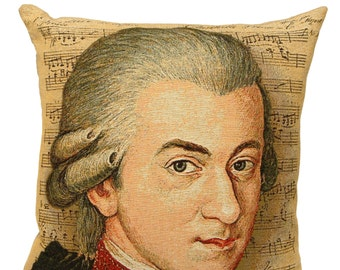 Mozart Portrait Pillow Cover - Mozart Gift - Amadeus Mozart Decor - 18x18 Belgian Tapestry Pillow Cover - PC-1829
