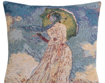 jacquard woven belgian gobelin tapestry cushion pillow cover Lady with Umbrella by Claude Monet