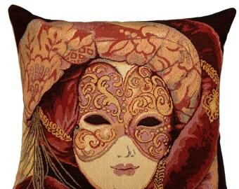 belgian gobelin tapestry cushion cover throw pillow venetian carnival mask - PC325