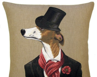 Whippet Lover Gift - Whippet Pillow Cover - Whippet Throw Pillow - Funny Dog Gift - Dressed Dog Art -Dog With Hat Cushion Cover