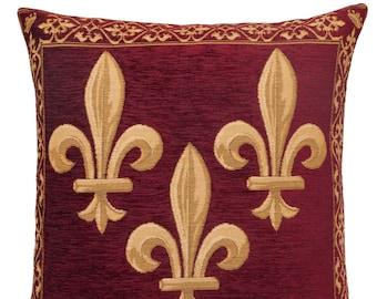jacquard woven belgian gobelin tapestry cushion pillow cover Fleur de Lis burgundy red