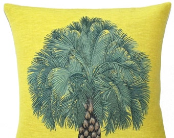decorative  woven tapestry gobelin throw pillow cushion cover tropical pineapple tree yellow background  - PC-5641