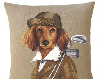 Cocker Spaniel Pillow Cover - 18x18 Belgian Tapestry Cushion - Spaniel Lover Gift - Golf lover gift - Golf Decor - PC-5612